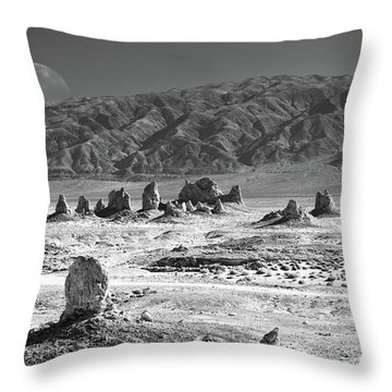 Trona Pinnacles With The Moon Throw Pillow
