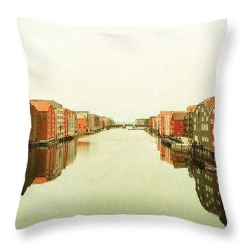Trondheim On A Rainy Day Throw Pillow