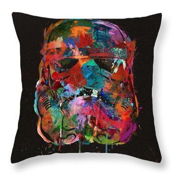 Trooper In A Storm Of Color Throw Pillow