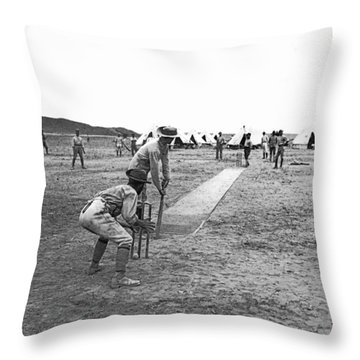 Troops Playing Cricket Throw Pillow by Underwood Archives