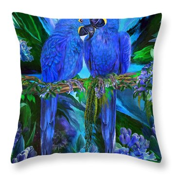 Tropic Spirits - Hyacinth Macaws Throw Pillow