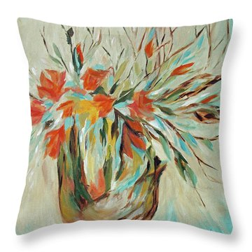 Throw Pillow featuring the painting Tropical Arrangement by Joanne Smoley