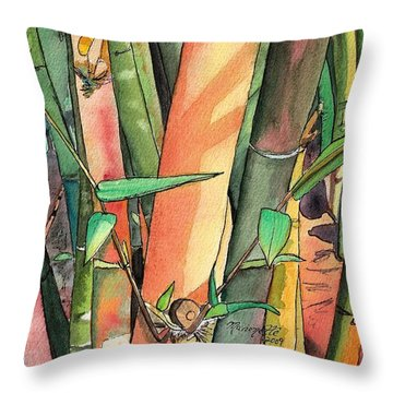 Tropical Bamboo Throw Pillow by Marionette Taboniar