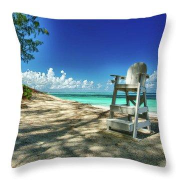 Tropical Beach Chair Throw Pillow
