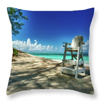Tropical Beach Chair Throw Pillow