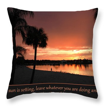 Tropical Beach Sunset With Lone Bather Silhouette Throw Pillow