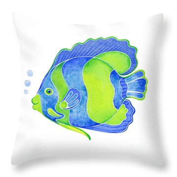 Tropical Blue Angel Fish Throw Pillow