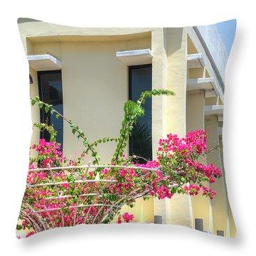 Tropical Bougainvillea Throw Pillow