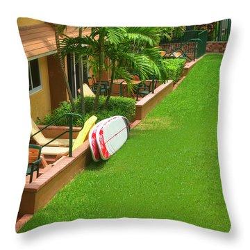 Tropical Courtyard Throw Pillow