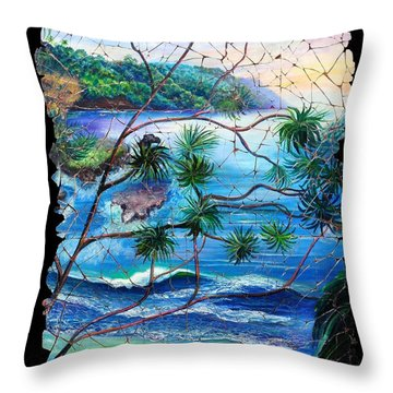 Tropical Cove  Fresco Triptych 2 Throw Pillow
