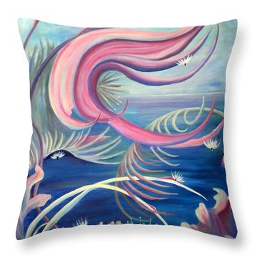 Throw Pillow featuring the painting Tropical Dancer by Renate Nadi Wesley