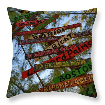 Tropical Directions Throw Pillow