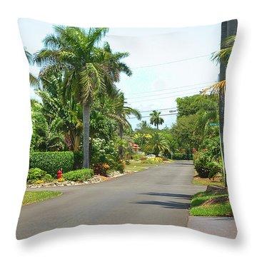 Tropical Feel Residential Street Throw Pillow