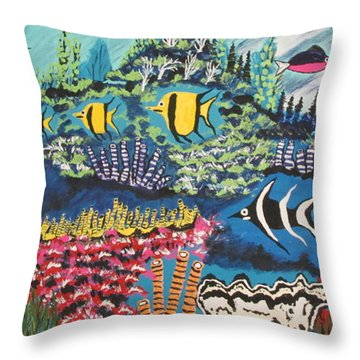 Tropical Fish Colors Throw Pillow by Jeffrey Koss