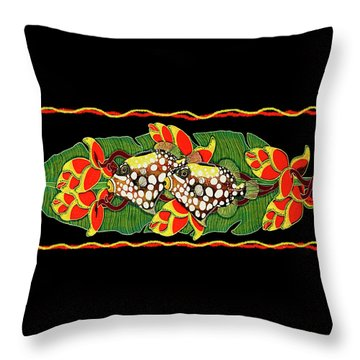 Throw Pillow featuring the painting Tropical Fish by Debbie Chamberlin