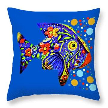 Throw Pillow featuring the digital art  Tropical Fish by Eleni Mac Synodinos