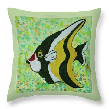 Tropical Fish Series 1 Of 4 Throw Pillow by Gail Kent