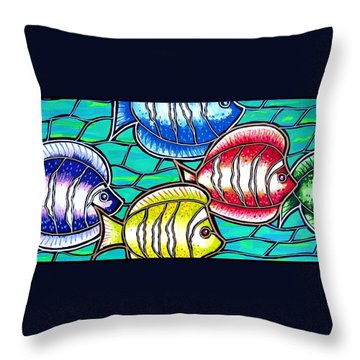 Throw Pillow featuring the painting Tropical Fish Swim by Jim Harris