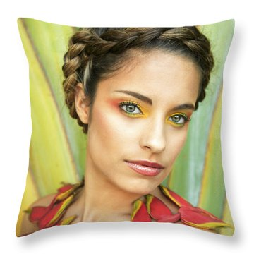 Tropical Floral Fashion Throw Pillow by Brandon Tabiolo - Printscapes