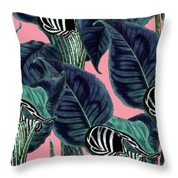 Tropical Flower Pattern Throw Pillow by Uma Gokhale