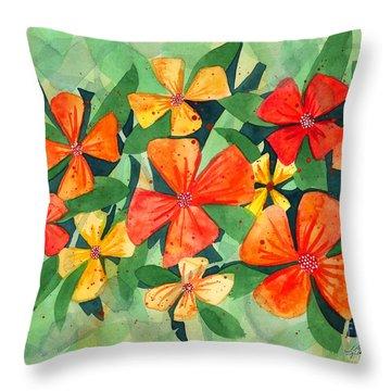 Tropical Flower Splash Throw Pillow by Kristen Fox