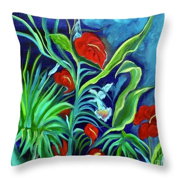 Tropical Flowers 1 Throw Pillow