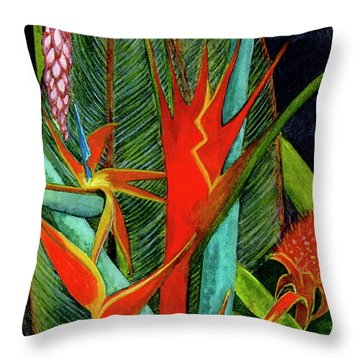Tropical Flowers Assortment #60 Throw Pillow by Donald k Hall