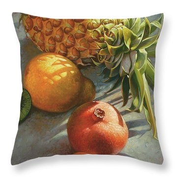 tropical Fruit Large Throw Pillow
