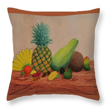 Throw Pillow featuring the painting Tropical Fruits by Hilda and Jose Garrancho