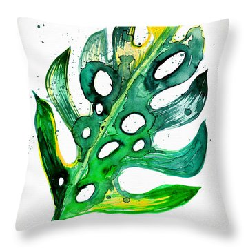 Tropical Greenery - Philodendron Leaf Throw Pillow