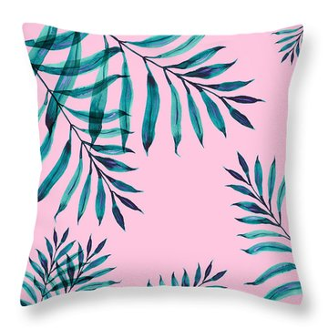 Tropical Greenery On Pink Throw Pillow