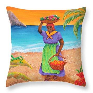 Tropical Harvest Throw Pillow by Pamela Allegretto