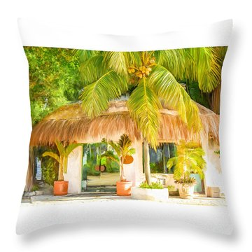 Tropical Hut Throw Pillow