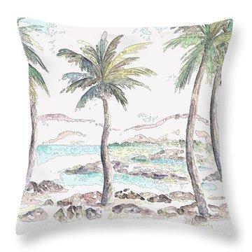 Throw Pillow featuring the digital art Tropical Island by Elizabeth Lock