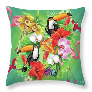 Tropical  Karnaval Throw Pillow
