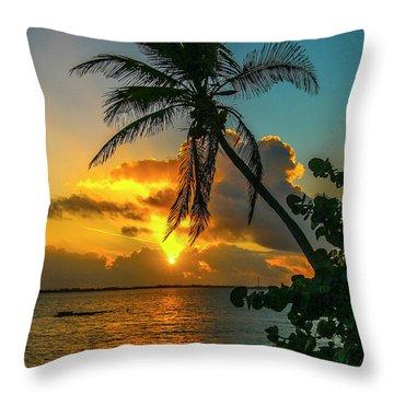 Tropical Lagoon Sunrise Throw Pillow