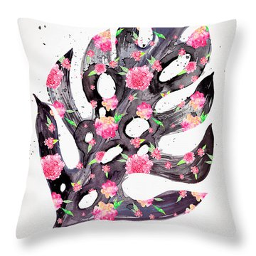 Tropical Leaf - Philodendron Black Pink Throw Pillow