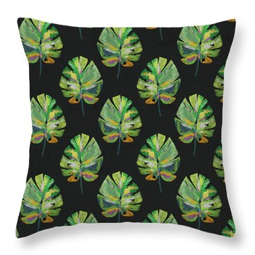 Throw Pillow featuring the mixed media Tropical Leaves On Black- Art By Linda Woods by Linda Woods