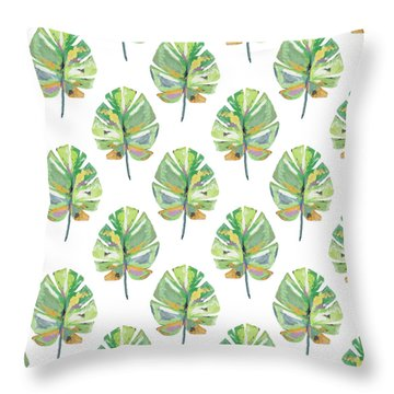 Throw Pillow featuring the mixed media Tropical Leaves On White- Art By Linda Woods by Linda Woods