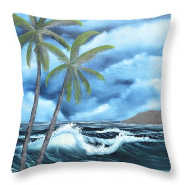 Throw Pillow featuring the painting Tropical by Mary Scott