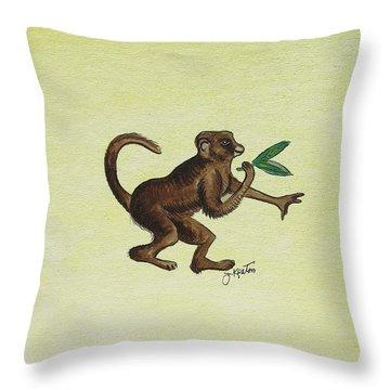 Tropical Monkey 2 Throw Pillow by John Keaton