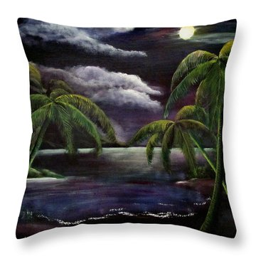 Tropical Moonlight Throw Pillow by Luis F Rodriguez