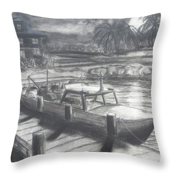 Tropical Moonrise Throw Pillow