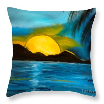 Tropical Moonshine Throw Pillow by Jenny Lee