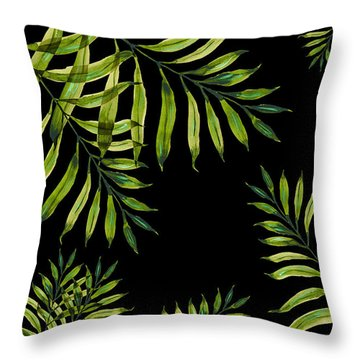 Tropical Night - Greenery On Black Throw Pillow