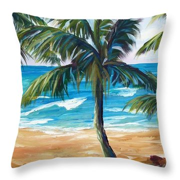 Tropical Palms I Throw Pillow