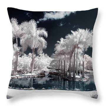 Tropical Paradise Infrared Throw Pillow by Adam Romanowicz