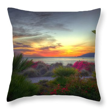 Tropical Paradise Sunset Throw Pillow