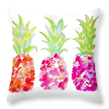 Tropical Pink And Gold Throw Pillow by Roleen Senic