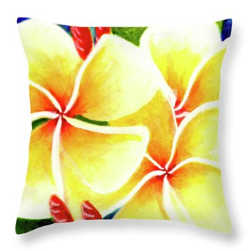Tropical Plumeria Flowers #226 Throw Pillow by Donald k Hall